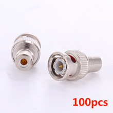 100pcs BNC Male to AV Female RCA Female Coax Cable Connector Adapter F/M Coupler For CCTV Camera(China)
