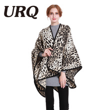 130*140 winter warm poncho for women big size luxury brand design Leopard print fashion 2017 new