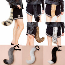 Cosplay Halloween Furry Faux Fur fox's Tail Wolf Adjustable Dress Costume Party Supplies(China)