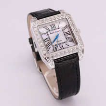 Royal Crown Lady Women's Watch Japan Quartz Setting Crystal Hours Fine Fashion Dress Bracelet Leather Luxury Rhinestone Gift Box