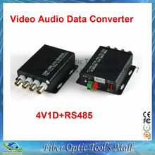 1 Pair 2 Pieces/lot 4 Channel Video Optical Converter fiber optic video optical transmitter & receiver 4CH +RS485 Data