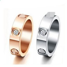 Top Classic Design Famous Brand 6mm white / Rose / yellow gold color CZ  lovers wedding band love ring  for Women Men