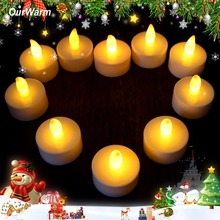 10pcs/lot Romantic Tealight Tea Candles Wedding Decor Candle Light Flickering Light Flameless LED(China)