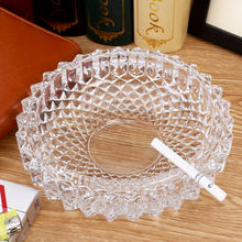 Dia. 13cm Ashtray Premium Decorative Cigarette Ashtray Ash Holder for Smokers Desktop Smoking Ash Tray in Glass Round(China)