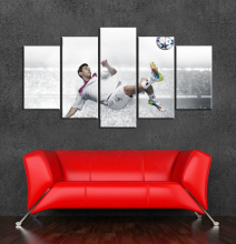 Football decoration messi canvas painting wall art of 5 pieces wall pictures for bedroom umframed