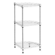 3-Tier Quarter-Circle Wire Corner Shelving Unit Free-Standing Storage Organization Shelf Rack for Bathroom Kitchen Living Room