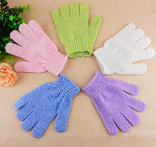 Free Shipping Moisturizing Spa Skin Care Cloth Bath Glove Exfoliating Gloves Cloth Scrubber Face Body 2Pcs/Lot Mix Color(China)