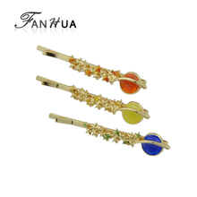 FANHUA Acrylic Hairwear Gold-Color Barrettes Yellow Blue Red Color Star Planet Pattern Hair Accessories For Women