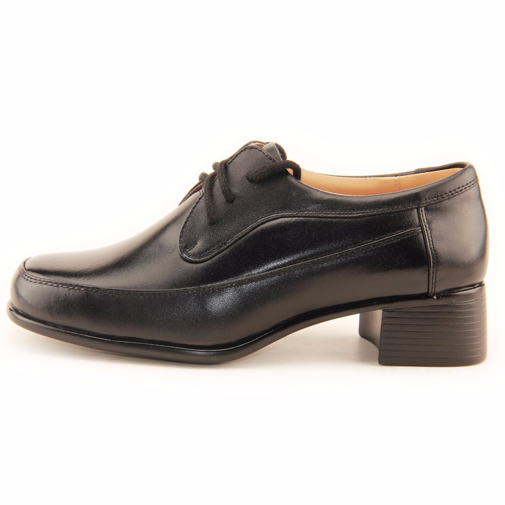 QIANGREN Military Factory-Direct Women's Spring Autumn Genuine Leather Black Shoes Female Government staff Officer Ladies Shoes