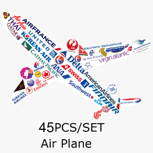 [45pcs/set Airline] World Famous Air Plane CompanyCar Styling Waterproof Graffiti Sticker Bike Laptop Skatboard Luggage Decals