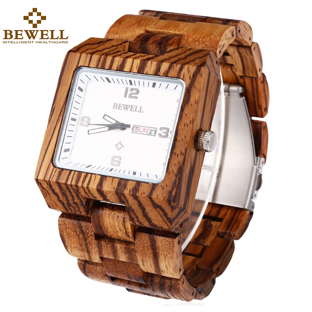 BEWELL Handmade Wooden Watches for Men Waterproof Square Dial Analog Quartz Wristwatch Luxury Relogio Masculino 016B <br>