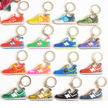 Cute Mini Silicone New Balanceer 574 Key Chain Bag Charm Woman Men Kids Key Ring Gifts Sneaker Key Holder Jordan Shoes Keychain(China)
