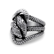 Punk Style Fashion Men's 316L Titanium Steel Jewelry Rings Exaggerated Double Snake Head Finger Rings