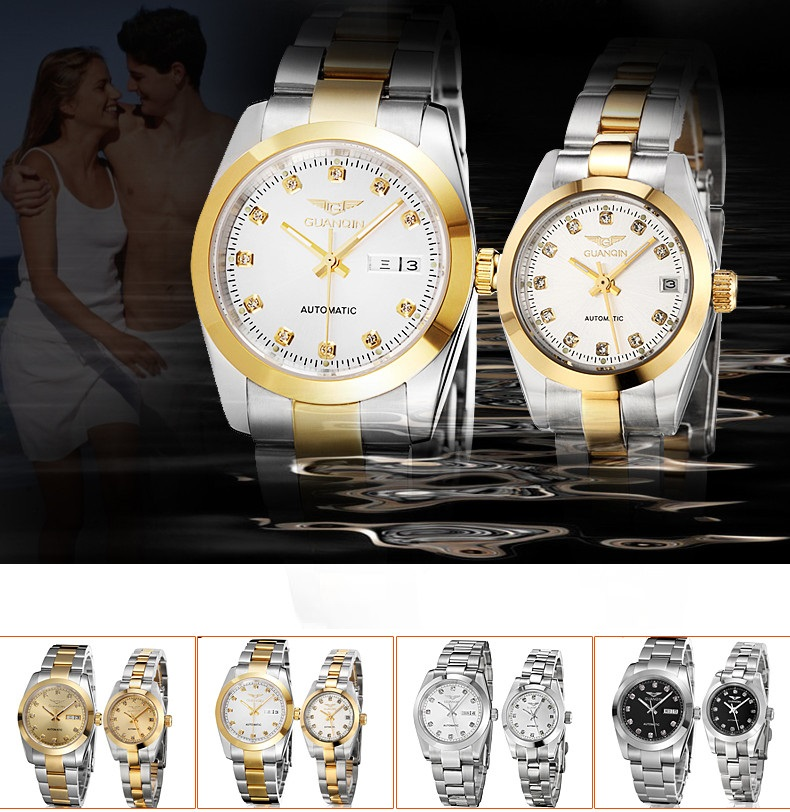 GUANQIN Gold Couple Watch Men Women Mechanical Watch Luminous Calendar Week Waterproof Rhinestones Automatic Lovers Watches (6)