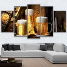 2017 Modular Canvas Painting Wall Art Home Decor Frameless 5 Pics Cold Ones Drink Pictures Living Room HD Prints Beer Mug Poster(China)