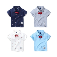 2017 Boys polo shirt with bow tie baby boys clothes cotton short sleeve clothing for boy kids summer shirts for children 2-8yrs(China)