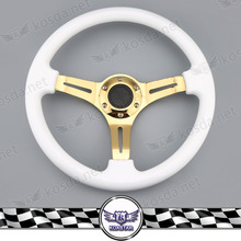 Gold Spoke 350mm ABS Steering Wheel Racing Car Steering Wheel Car Decoration Accessories Hot Wheels Cars(China)