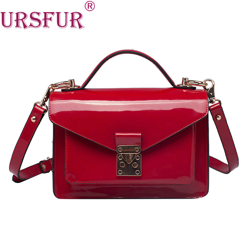 URSFUR 2017 High Quality Patent Leather Women bag Ladies Cross Body messenger Shoulder Bag Handbag Famous Brands bolsa feminina<br>