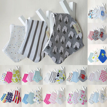 Random Delivery!3pcs/set Baby bibs High quality triangl pattern head scarf for saliva towel dribble baby boy girl bandana bibs