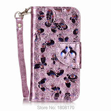 Butterfly Bling Wallet Leather Case For Iphone 7 Plus I7 6 6S 5 5S SE 5C Ipod Touch 5 6 5th 6th Card Stand Phone Cover 1pcs(China)