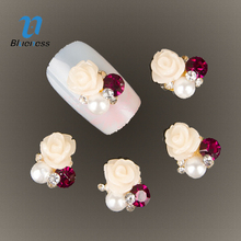 10pcs 3D beige flowers Charm Decorations Glitter pearl Alloy Metal Jewelry Rhinestones for Nail Art Studs Tools TN181