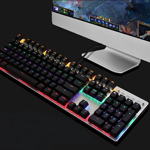 104-Key Mechanical Backlit Gaming Keyboard Wired Equipped with Colorful LED Lights Blue Switch USB Metal for CS Gamer Computer