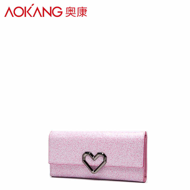 Aokang European style Fashion Women Medium Classic wallets Female Leather Slim Envelope Clutch Zipper Packet Carteira Feminina<br>