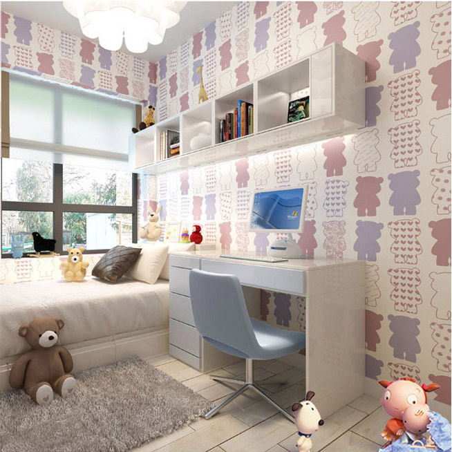 Cute white bear wall paper roll  for children room wall decorative and wallpaper kids<br>