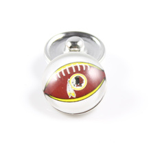 20Pcs/lot 18MM Glass American Football Charms USA Washington Redskins Snap Button Jewelry Fit Snaps Bracelets Bangle Necklace