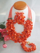 Free Shipping !!! A-4762 2017 Latest African Wedding Pink Coral Beads Jewelry Set African Costume Jewelry Set