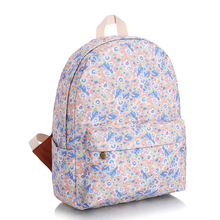 2016 new fashion leisure backpack Harajuku pink and blue small flowers printing  school bags waterproof travel  daypacks