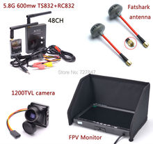 FPV Kit Combo System 1200TVL Camera + 5.8Ghz 600mw 48CH TS832 RC832 Plus + 7 inch LCD 1024 x 600 Monitor + Antenna for FPV(China)