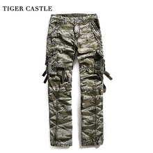 TIGER CASTLE Cargo Pants Military Style Baggy Mens Camouflage Track Pants Camo Multi Pocket Brand Male Long Pants Jumpsuit(China)
