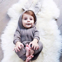 Baby Warm Rompers Autumn Winter Infant Bunny Ear Zipper Jumpsuit Cotton Boys Girls Cute Animal Playsuits Toddler Hooded Outfits(China)