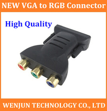 Free Shipping Brand New VGA to RGB & RGB to VGA Connector VGA ADAPTER 50pcs  High Quality