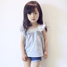 Baby Girl Shirt Summer Fashion Lovely Cute Toddler Kids Girls Casual Lace Splicing Shirt Cotton Soft Blouse Tops 2-6 Year