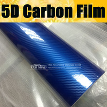 Free shipping Gloss Crystyle Blue 5D Carbon Fiber Vinyl Blue 5D Carbon Fibre Film Roll Car Wrapping size:10/20/30/40/50/60X152CM