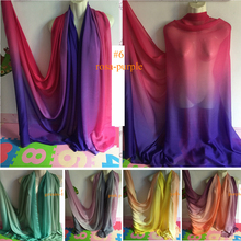 Pure Silk Chiffon Material Gradient Ombre Silk Fabrics(China)