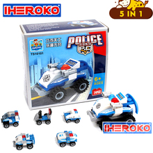 New 5/Sets City Police Mini Car Building Block Toys Children's Intelligence Toys DIY Kid Educational Toy Assembly Model(China)