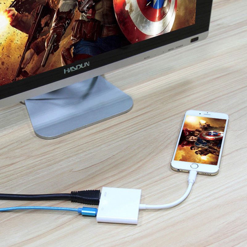 AHHROOU 1080P HDMI Cable For Lightning To AV HDMI / HDTV TV Digital Cable Adapter For iPhone X 8 For iPhone 7 Plus For iPad Mini 12