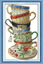 Elegant coffee cup Needlework Counted Cross Stitch embroidery hand made cross-stitch set DIY innovation items home decoration