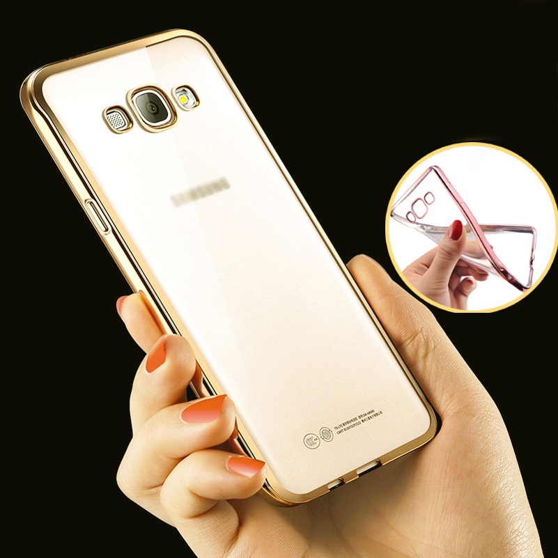 Phone Case For Samsung Galaxy A7 2015 Ultra Thin Clear Plating Electroplating TPU Soft Mobile Phone Cases Cover For Galaxy A7000