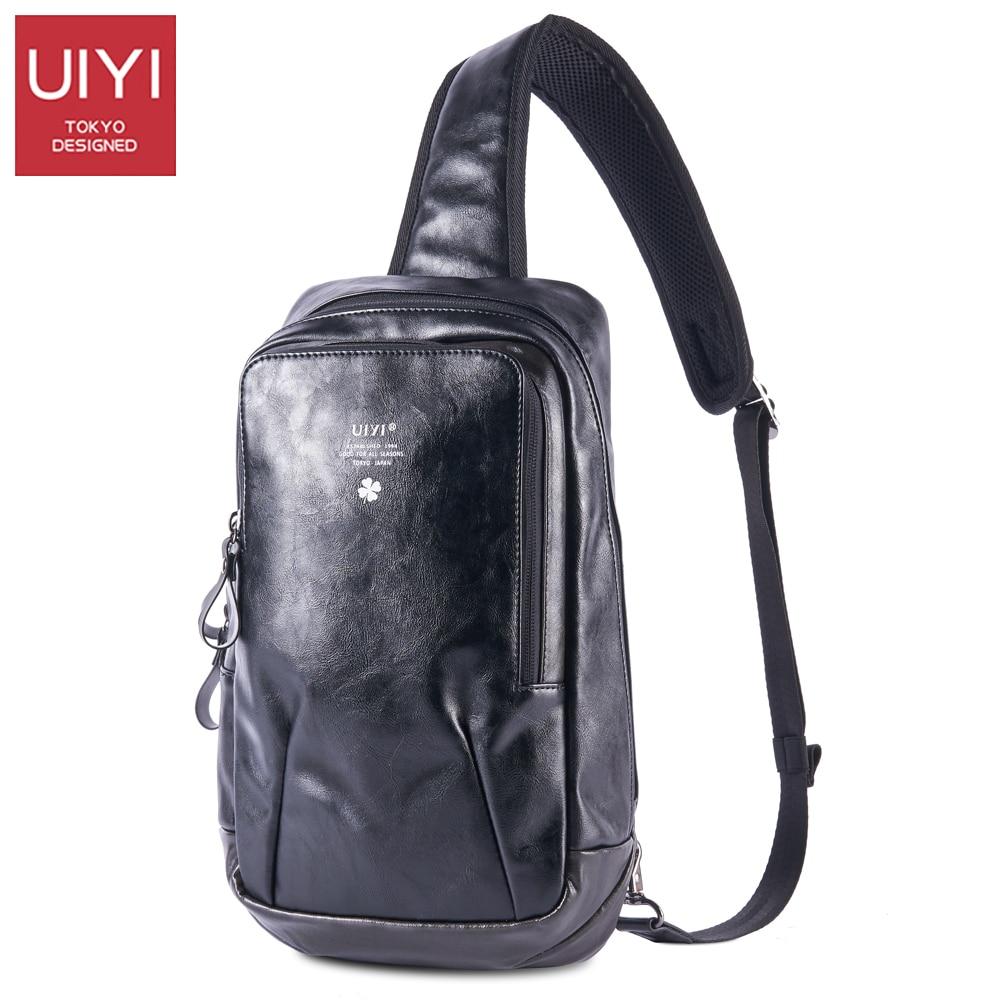 UIYI Mens Black PVC bag chest Male shoulder bag 2017 new fashion large capacity handbag for boy bag # UYX7034<br>