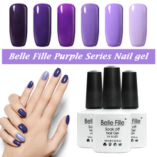 Belle Fille Gel Polish Purple Series Color Coat UV LED Soak Off Nail Polish Gel Designs Purple Colors Coat UV LED Gel(China)