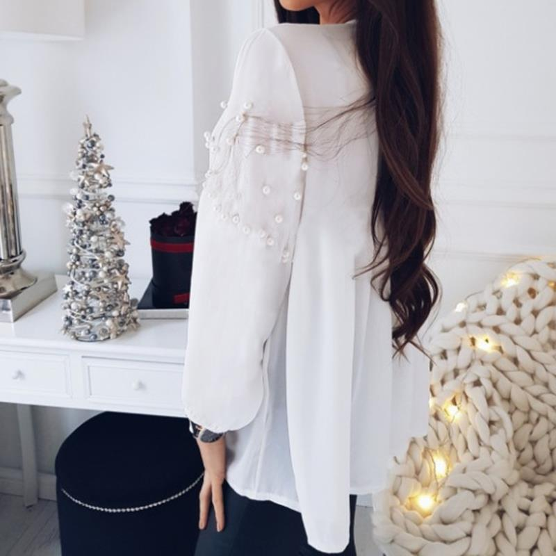 Elegant Pearls Beading Shirts Long Sleeve V Ncek White Chiffon Shirt Pleated Chic Blouse Office Lady Casual Tops Blusas WS6098O 4