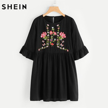 SHEIN Botanical Embroidered Trumpet Sleeve Smock Dress Black Summer Dress 2017 Half Sleeve Vintage Straight Dress