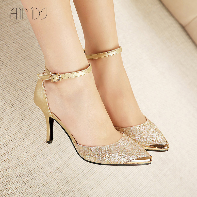 Brand Shoes Woman High Heels Women Pumps Stiletto Thin Heel Womens Shoes Gold Blue Pointed Toe High Heels Wedding Shoes<br><br>Aliexpress