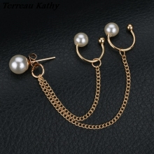 Terreau Kathy 2016 New Fashion Tassel Chain Pearl Earrings For Women Punk Style Ear Cuff Clip Earrings