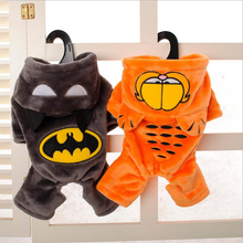 2017 Winter Warm Fleece Pet Dog Clothes Cute Garfield & Batman Dog Coat Four Feet Dog Hoodies 2 Colors Size S-XXL For Chihuahua(China)