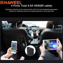 HAWEEL 1.8m Portable Car Charger 9.6A Max 4 Ports USB Extending USB HUB Passenger Front and Backseat Charging For Smartphones(China)
